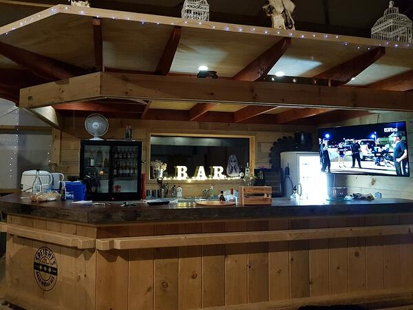 Nathan has built in a custom bar to make his shed the ultimate man shed