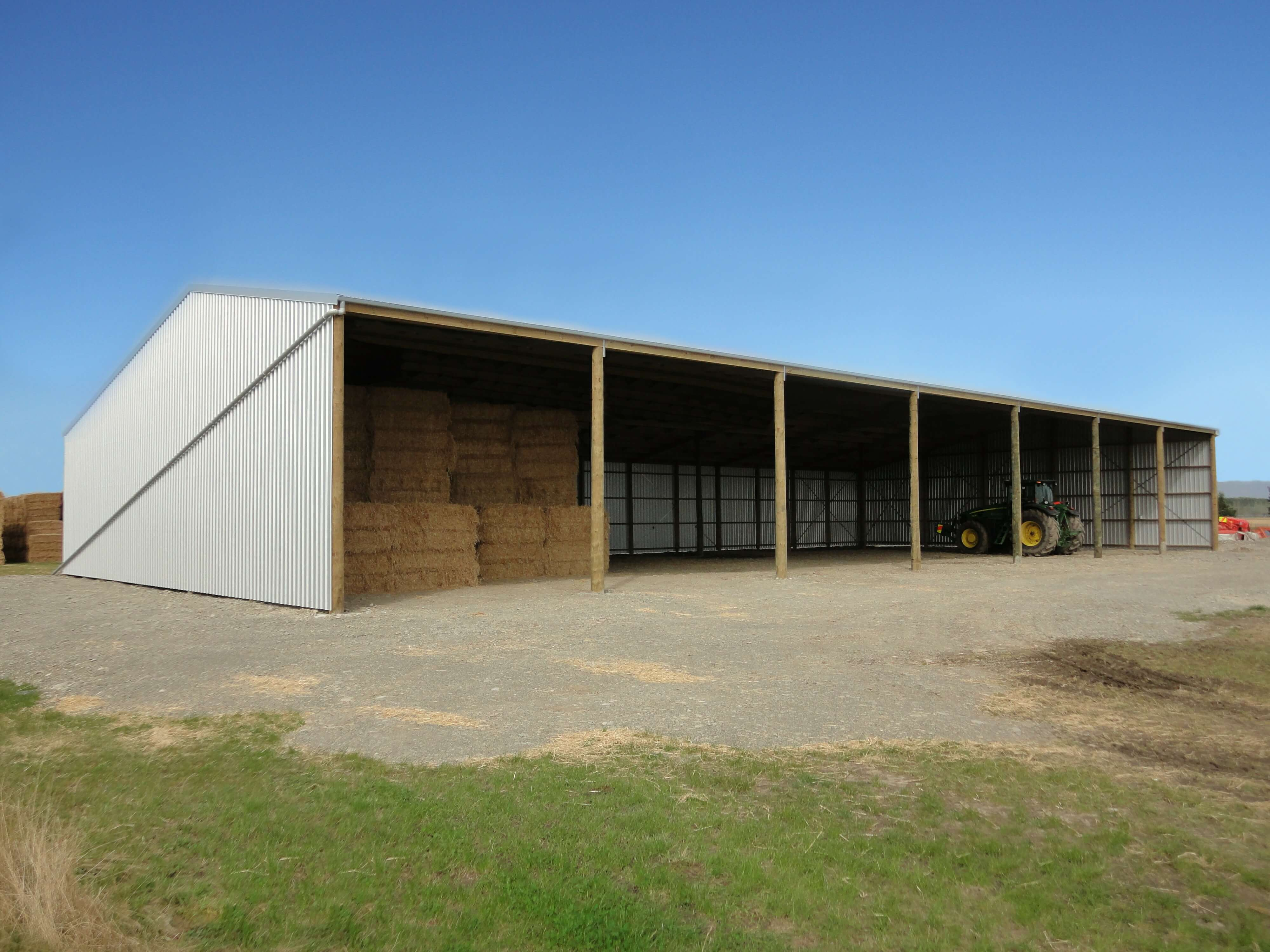 Three-sided hay shed design