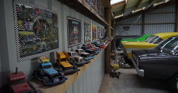 Custom Clearspan shed housing a range of collectable cars