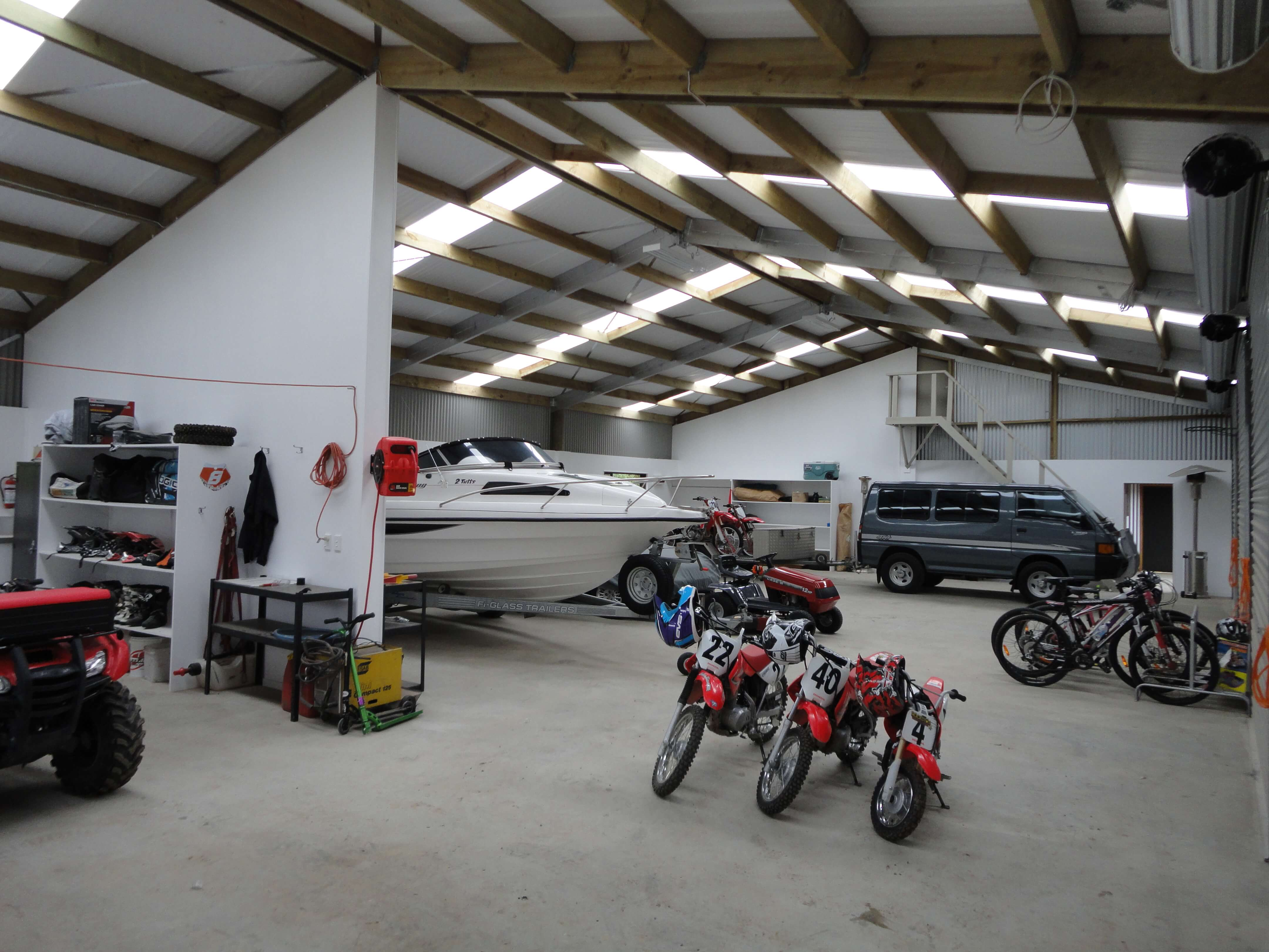 Shed for storing motorcycles and boats