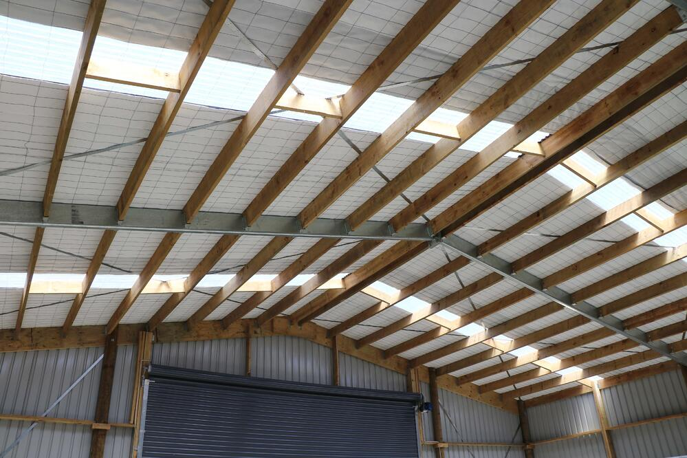 Timber pole shed interior