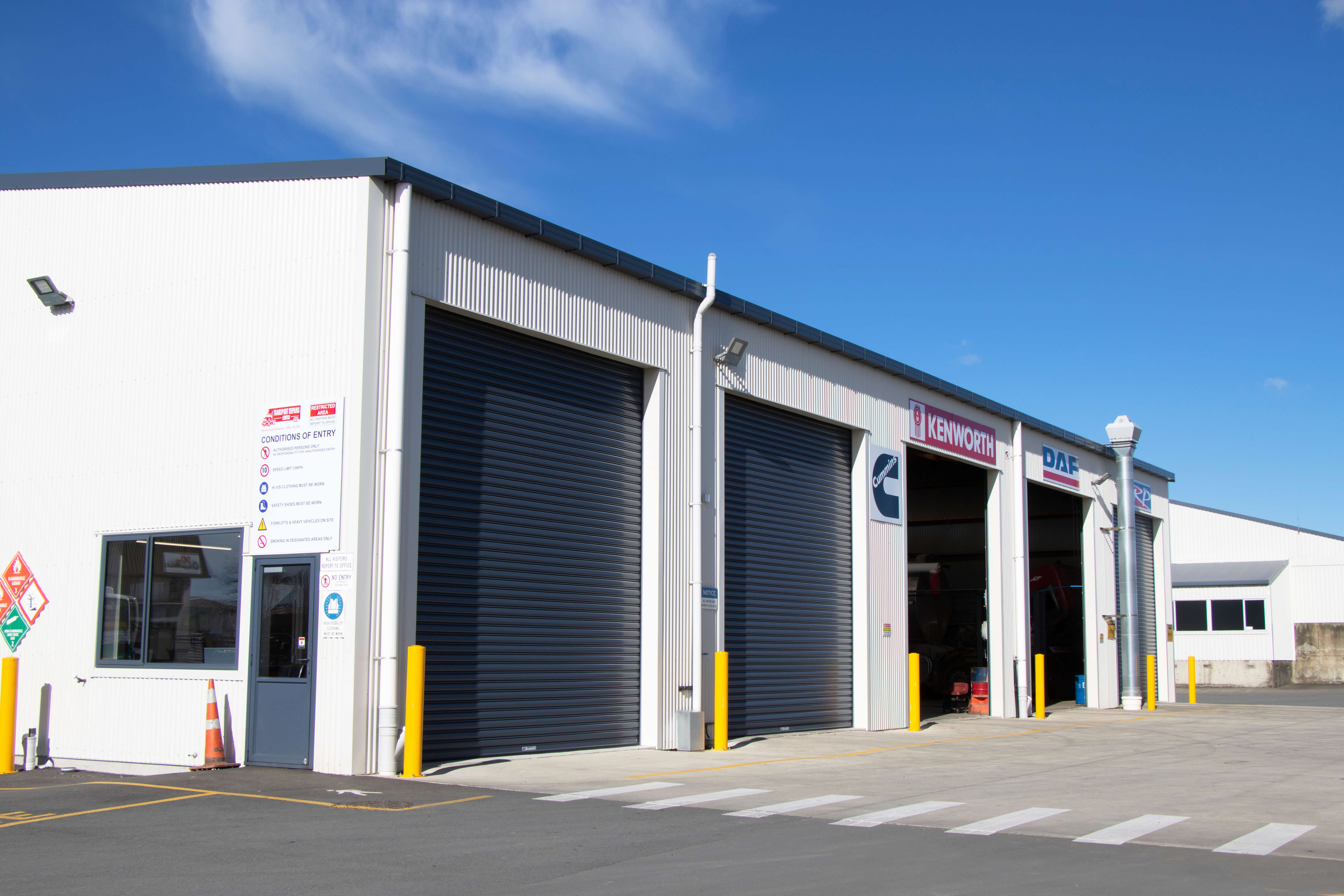 Industrial workshop shed created by Alpine Buildings for Transport Repairs LTD