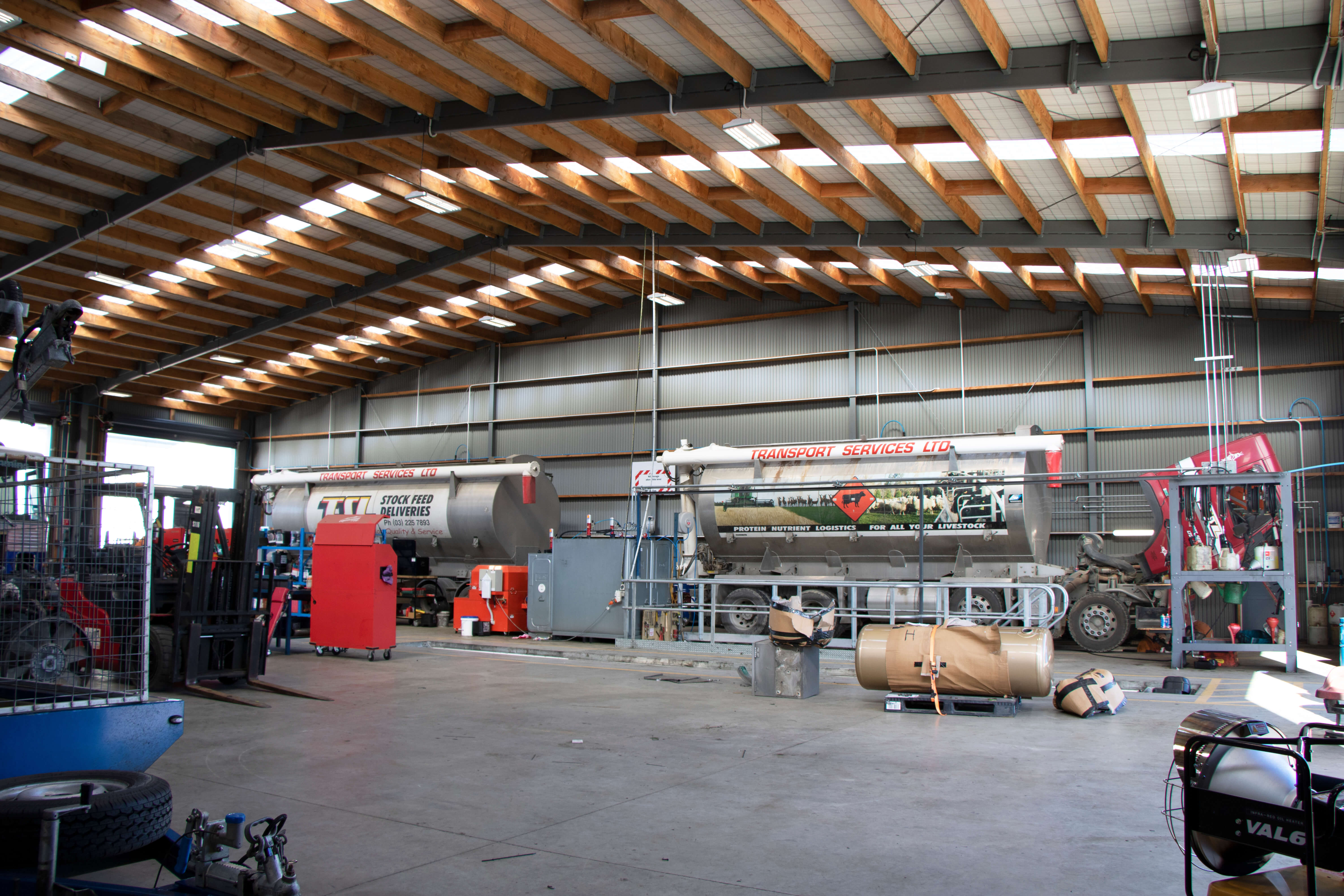 Industrial steel shed used as commercial workshop