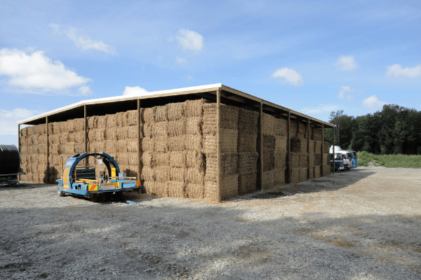 Large hay shed that is open-sided