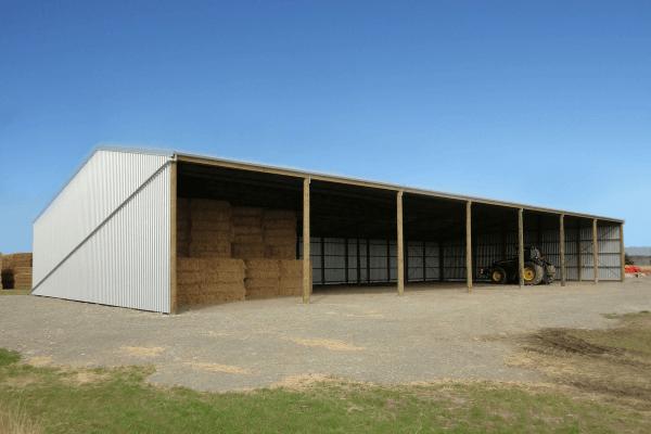 Three-sided pole hay shed