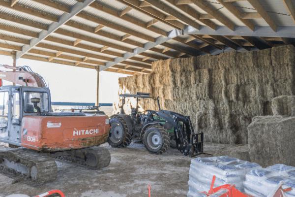 Large hay shed storage